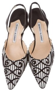 Manolo Blahnik Pointed Toe Slingback Woven Striped Velvet Gray, Ivory Pumps