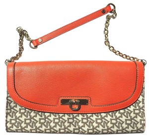 DKNY Orange and Brown Clutch