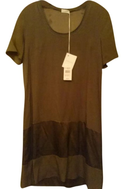 Item - Brown Made In Italy Silk Mid-length Cocktail Dress Size 12 (L)