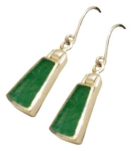 Jezlaine Sterling Silver And Jade Hook Dangle Earrings