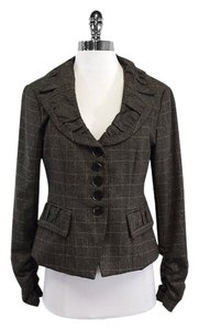 Nanette Lepore Brown Plaid Wool Ruffle Blazer
