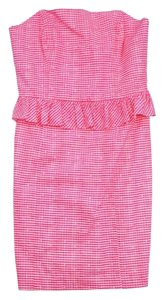 Lilly Pulitzer short dress Pink White Gingham Cotton on Tradesy