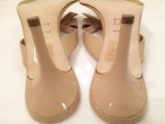 Dior Christian Patent Leather Gold Hardware Classic Style Neutral Beige Sandals