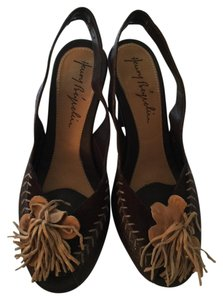 Henry Beyreliu Nwt Italian Size 8.5 Brown Side Brown Leather Pumps Sandals