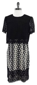 Anna Sui short dress Black White Floral Geo Eyelet on Tradesy