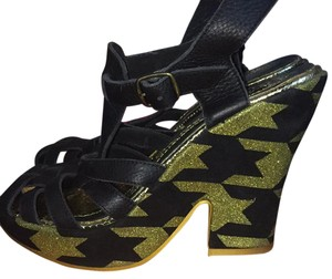 Irregular Choice Black and gold Sandals
