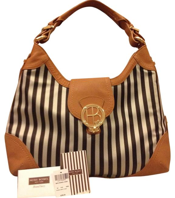 Item - Miss Brown & White Stripe Hobo Bag