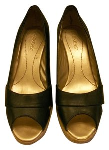 Dockers Espadrille Leather Open Toe 8.5 Black Wedges