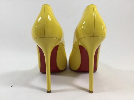 Christian Louboutin Patent Leather Classic Peep Toe Yellow Pumps