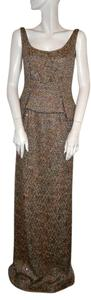 Gold/Taupe Metallic Tweed Peplum Gown Maxi Dress by Douglas Hannant Gold Taupe Gold & Taupe