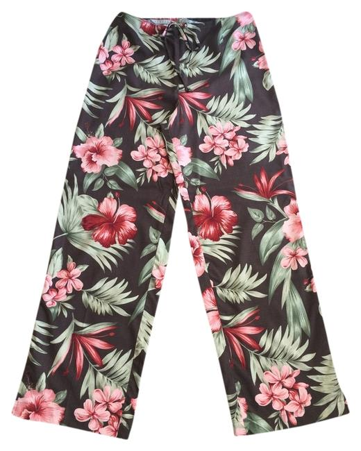 Tommy Bahama Tropical Floral Hibuscis Leaves Drawstring Silk Spandex Stretch Nautical Pants