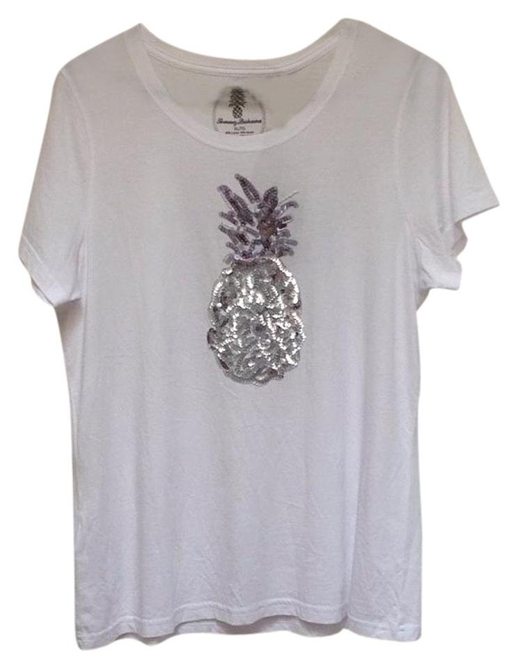 45b7bd5e Tommy Bahama White Seaport Sequin Pineapple Tee Shirt Size 16 (XL ...