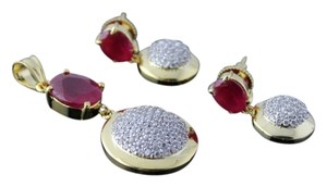 Other American Diamond Ruby Pendant Set