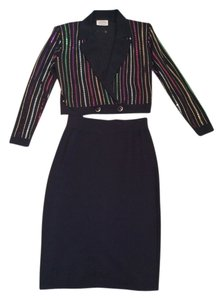 St. John Top Black with multi- color sequins
