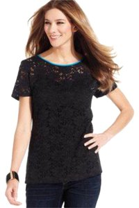 Style & Co Lace Pettite Top Black