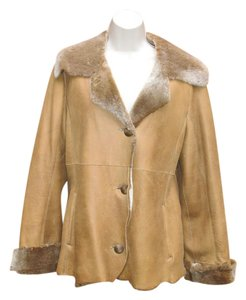 Hide Society Genuine Sheepskin Coat Camel Leather Jacket