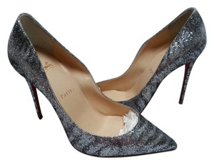 Christian Louboutin Glitter Follies Animal Print Grey/Silver Pumps