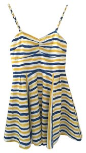Jack short dress yellow, blue, & white Beach Striped Mini on Tradesy