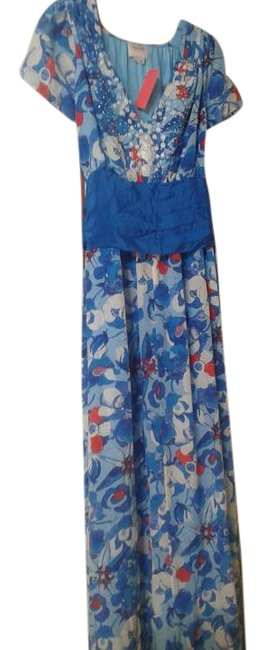 Item - Blue With Print Long Night Out Dress Size 8 (M)