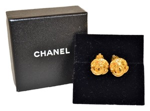 Chanel Authentic Chanel Gold Vintage CC Clip On Earrings
