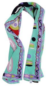 Emilio Pucci Mint, Purple & Black Print Silk Scarf