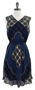 Anna Sui short dress Blue & Beige Silk Print Sleeveless on Tradesy