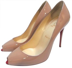 Christian Louboutin Mini Peep-toe Tonal Top Stitching Patent Leather Run Small Nude Pumps