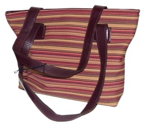 Donald J. Pliner New Tags Body Tote Has Dust Satchel in striped canvas in bungundys & browns with brown leather