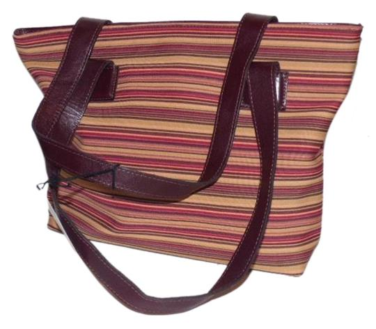 Preload https://img-static.tradesy.com/item/18738316/donald-j-pliner-designer-pursesdesigner-purses-striped-canvas-in-bungundys-and-browns-with-brown-lea-0-1-540-540.jpg