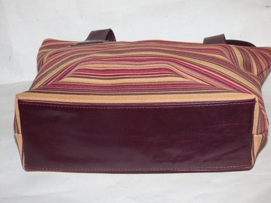Donald J. Pliner New Tags Body Or Tote Has Dust Satchel in striped canvas in bungundys & browns with brown leather Image 2
