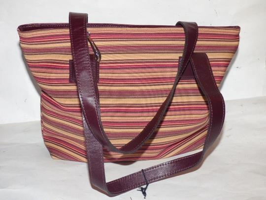 Donald J. Pliner New Tags Body Or Tote Has Dust Satchel in striped canvas in bungundys & browns with brown leather Image 4