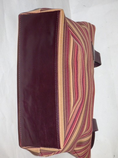 Donald J. Pliner New Tags Body Or Tote Has Dust Satchel in striped canvas in bungundys & browns with brown leather Image 5