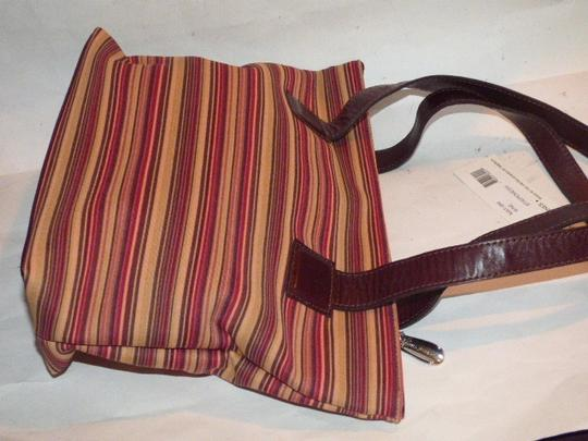 Donald J. Pliner New Tags Body Or Tote Has Dust Satchel in striped canvas in bungundys & browns with brown leather Image 6