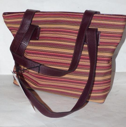 Donald J. Pliner New Tags Body Or Tote Has Dust Satchel in striped canvas in bungundys & browns with brown leather Image 7
