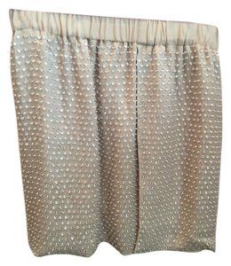 L'AGENCE Tea Length Mini Skirt Light Pink with Studs