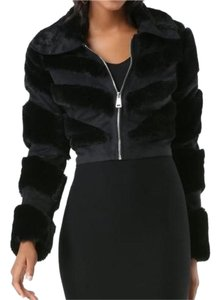 bebe Faux Fur Suede Evening Black Jacket