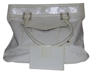 Helen Welsh New With Tags Or Tote Has Dust & Wallet Set Satchel in White crinkled patent leather