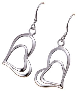 Sterling Silver Double Heart Dangling Earrings, Marked 925 Sterling Silver, Matcha Necklace I have for sale.