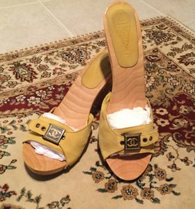 Chanel Suede Wood Yellow Mules
