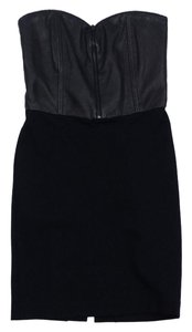 Alice + Olivia short dress Black Leather Zip Bodycon on Tradesy