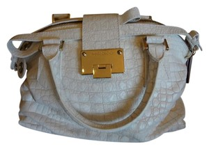 Jimmy Choo Leather Gold Hardware Satchel in White