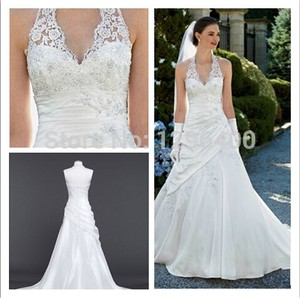 David's Bridal Taffeta Lace Halter A-line With Side Drape Style Wedding Dress