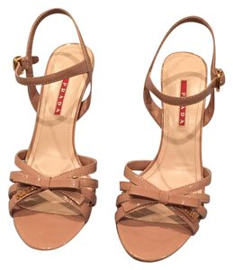 Prada Cork Patent Leather Bow Nude Patent Wedges