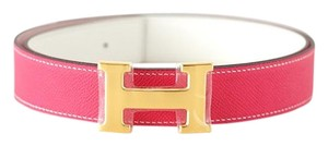 Hermès H CONSTANCE 32mm Belt Rose Tyrien / White Gold buckle 95 nwt
