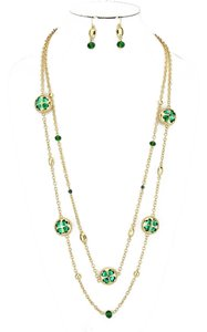 Green Clover Crystal Accent Double Layer Long Gold Chain Necklace and Earring Set