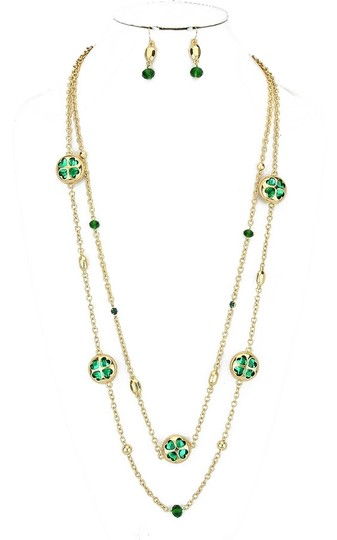 Other Green Clover Crystal Accent Double Layer Long Gold Chain Necklace and Earring Set