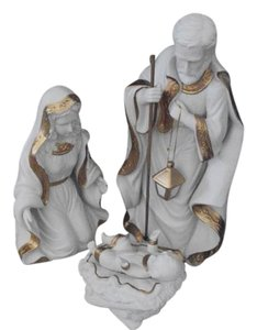 New In Box Nativity Set White/Gold Porcelain