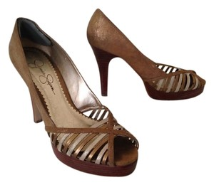 Jessica Simpson Peep Toe Crisscross Strap Gold bronze Pumps
