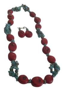 Tribal NAVAJO - Turquoise and Coral Necklace and Earring Set