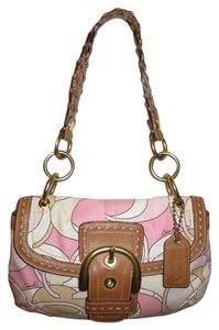 Coach Leather Signature Fabric Shoulder Bag